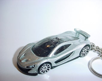 3D McLaren P1 custom keychain by Brian Thornton keyring key chain finished in silver racing trim