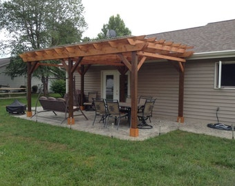 Covered Pergola Plans 12x18' Outside Patio Wood Design Covered Deck DIY