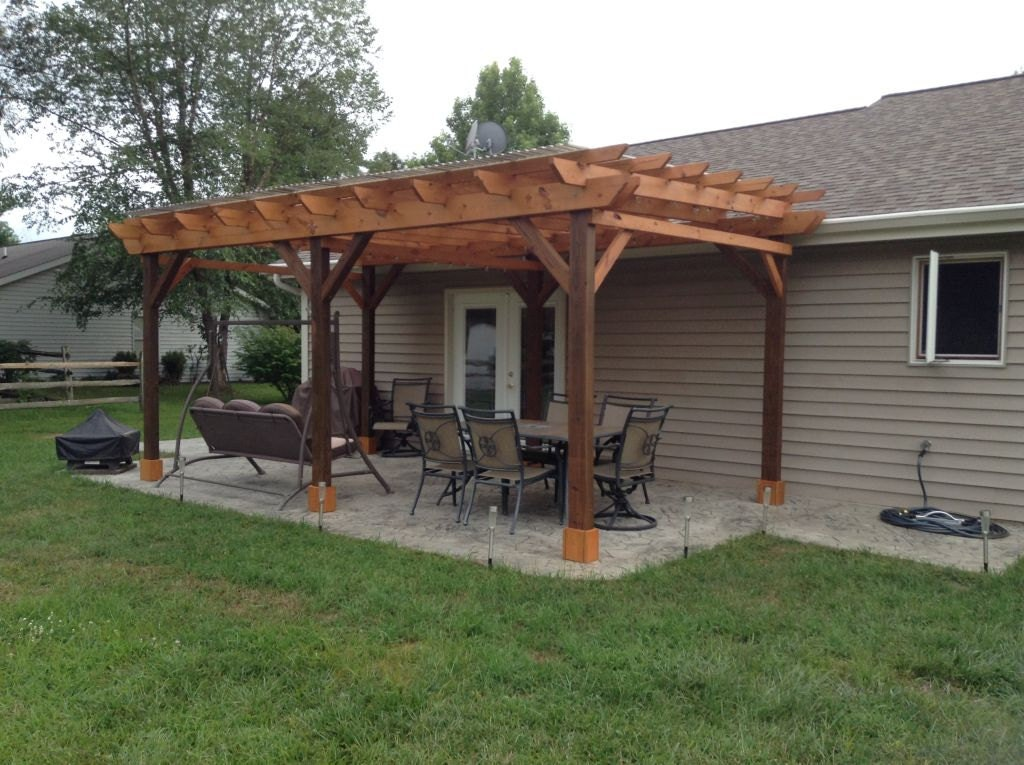 Covered pergola plans 12x18 39 outside patio wood design for Best material to build a house