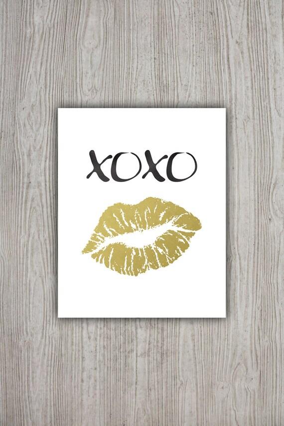 Wall Art Gold Lips : Xoxo print kiss art lips wall gold foil