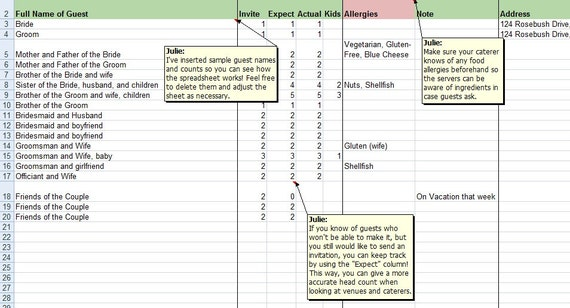 Wedding Guest Spreadsheet U2013 Bernit Bridal