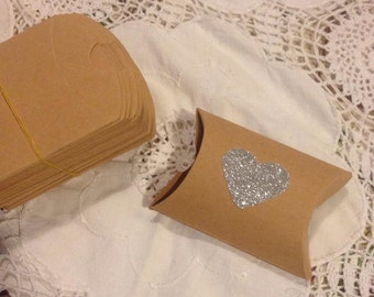 Kraft Paper Pillow favor Box Wedding Party Favor Bonbonniere Gift Candy Boxes - Silver Glitter Heart Lot of 10