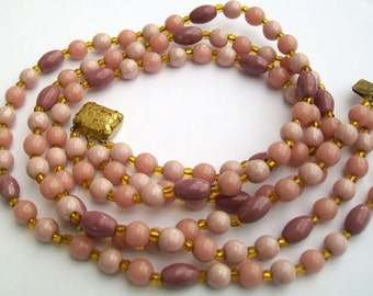 Vintage Three Strand Shades of  Pink & Lilac Glass Bead Necklace