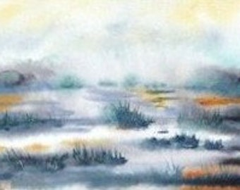 Water Wetland Landscape Painting. Morning mist fall watercolor. Misty Marsh Painting. Quiet habitat swampland, bog. Signed, matted to 11x13