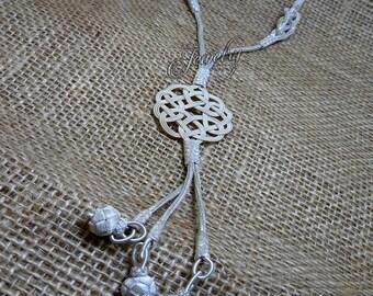 100% Pure Silver Handmade Kazaz Love Knot Tassel Necklace