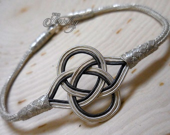 100% Pure Silver & Black Silver Kazaz Eternal Love Knot Bracelet
