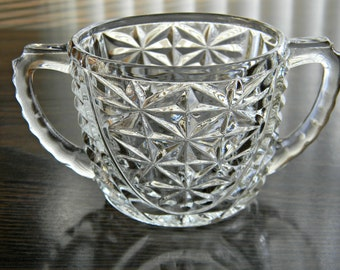 Open Sugar Bowl in Stars & Bars by Anchor Hocking