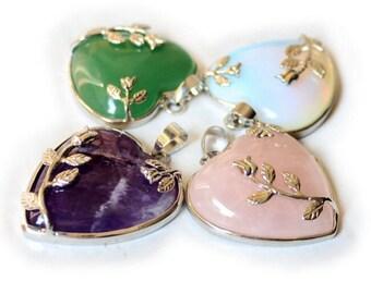 4pcs flowers gemstone love heart pendants,opal,rose quartz,amethyst,green jade pendants,healing stone pendants