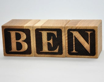 "2"" Personalized Wooden Name Blocks, Natural Personalized Wooden Toy, Handmade Gift, Personalized Baby Block, Personalized Block Letter"