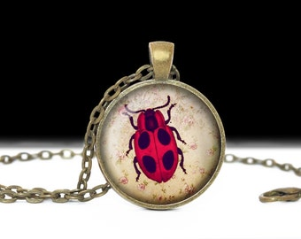 Lady Bug Jewelry Lady Bug Pendant Wearable Art Inscect Jewelry  Insect Necklace