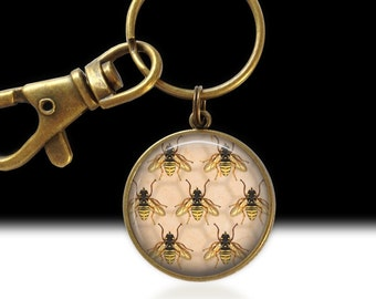 Bee Jewelry Bumble Bee Pendant Bee Keychain Inscect Jewelry Bee Charm