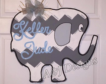 Door Hanger - Wood Cut Out - Elephant. This adorable Elephant can be changed to better meet your style!
