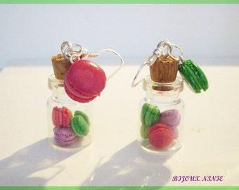 Earrings flask macaron gourmand in fimo
