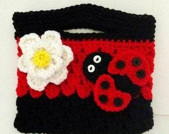 Crochet Purse, Ladybug Gift, Lady Bug Gift, Purse for Girls, Purse for Kid, Little Girl Purse, Little Girl Gift, Crochet Bag, Crochet Clutch
