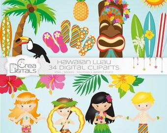 Hawaiian Summer Luau 34 cliparts - INSTANT DOWNLOAD