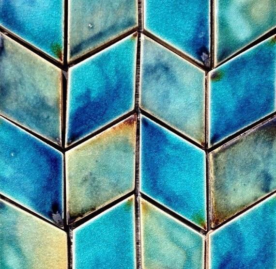 Diamond shaped ceramic tile