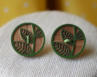 Wooden Green Leaf Stud Earrings