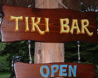 Tiki Bar open/still open sign
