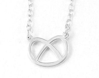 Pretzel Necklace / Sterling Silver Pretzel Necklace / Fun Necklace / Silver Necklace / Pretzel