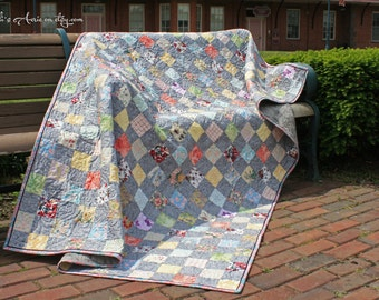 College Dorm Quilt Twin XL, Handmade, OOAK silver lilac grey bedding - Ready to ship!