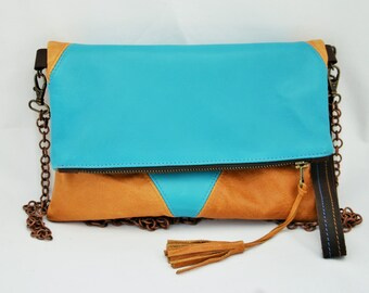 Leather clutch purse, Turquoise blue clutch, Mustard summer clutch, Colorblock Leather Clutch