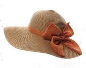 Straw hat - paper 100% , floppy beach hat - Coral