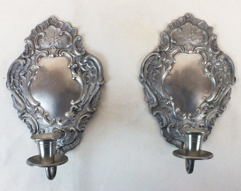 """Pair of pewter sconces 9 1/2"""" tall, 6"""" wide, 1.8 lb"""