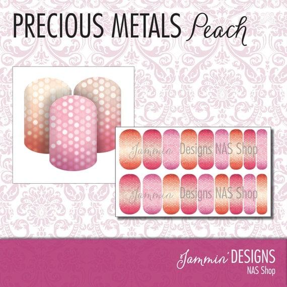 Precious Metals - Peach NAS (Nail Art Studio) Design