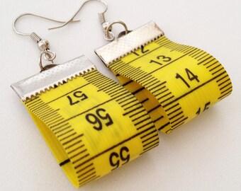 Tape Measure Earrings Upcycled Earrings Recycled Earrings Yellow Earrings Hipster Earrings Dressmaker Earrings Dressmaker Gift Designer Gift