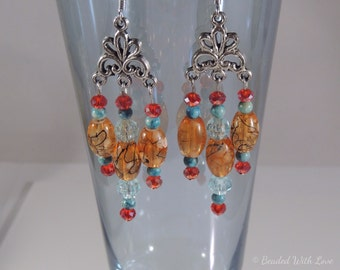 Shades of Autumn chandelier earrings