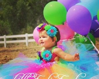Rainbow Party Dress, Birthday Tutu Dress, Headband