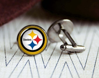 Steelers football sports team cufflinks. Gift idea for men, Fathers day, Christmas, prom, wedding cuff links.