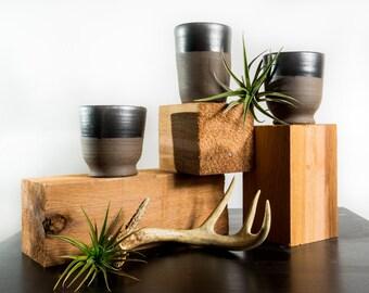 Ebony Tumbler Set/Chocolate Clay Pottery