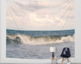 Ocean tapestry, photo tapestry, nautical tapestry wall hanging, coastal large wall decor, nature tapestry, modern decor, beach tapestry