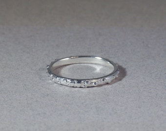 sterling silver organic blister band ring