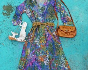 Vintage Floral Dress-Pleated-Sheer Dress-70s