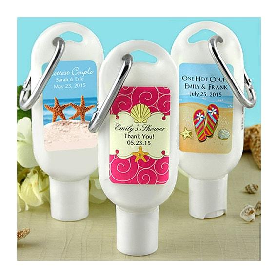 Beach wedding favors - 12 sunscreen favors 1.5 Oz. wedding beach theme, wedding beach favors