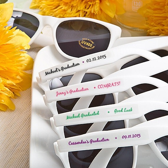 trendy white bridal party sunglass favours
