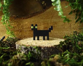 Black & White Pixelpet standing cat brooch