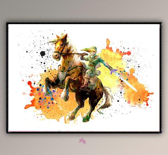 Link On Horse The Legend Of Zelda Nintendo-Game Watercolor