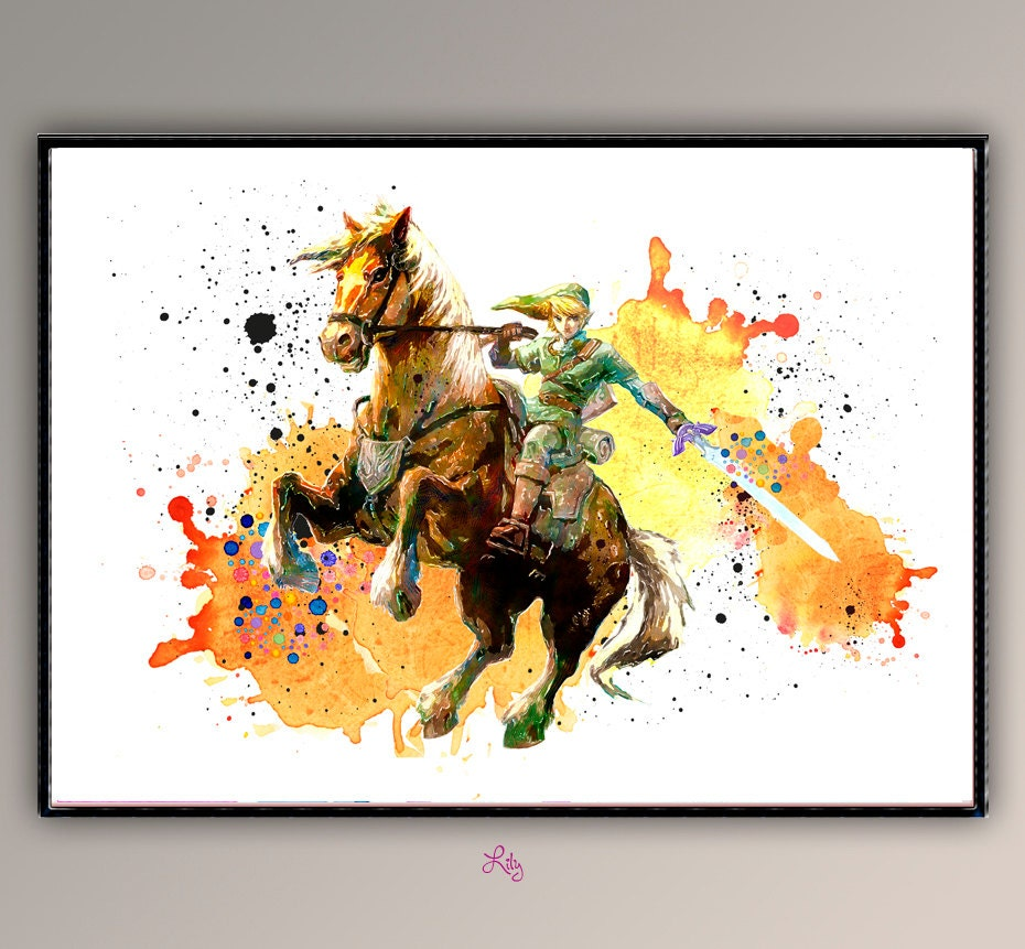 Link on horse the legend of zelda nintendo game watercolor for Decoration zelda