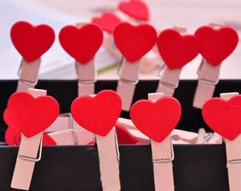 Decorative Wooden Red Heart Shaped Pegs/Wedding Favours/Decoration/ 10PCS