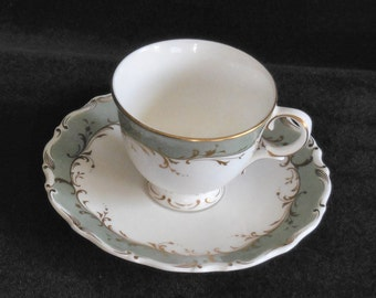 Royal Doulton Bone China Demitasse Cup and Saucer in the Foutainebleau Green pattern