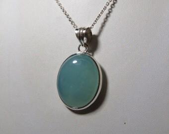 Blue Chalcedony pendant - Natural  Color Pendant Oval shape Pendant