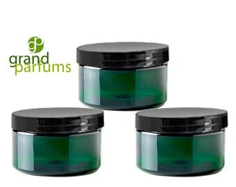 CLOSEOUT 3 Dark Emerald Green Low Profile PET Plastic Empty Cosmetic Jars 4 Oz 120mL w/ Silver, Black, White, Copper Caps,  Scrub Bath Salts