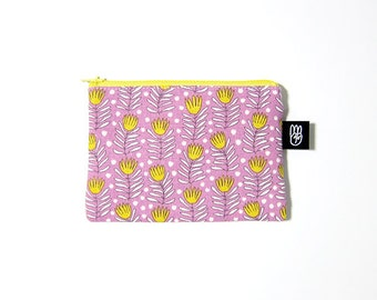 Lavender Floral Print Coin Purse, Credit Card Purse, Small Zip Pouch, Card Pouch