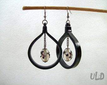 Black Leather Hoop Earrings