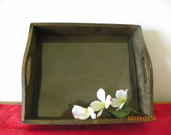 Wood Display Tray, Box With Glass