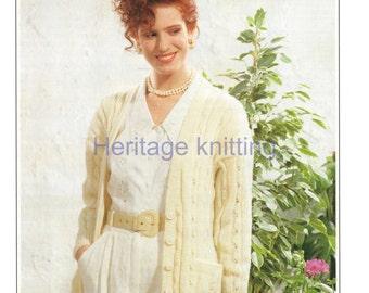 womens long cardigan dk knitting pattern 99p pdf