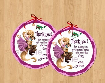 Rapunzel Favor Tags, Thank You Tags, Sticker. Digital (you print)